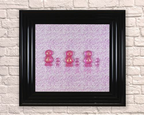 Large Pink Sparkle Babies Black 65cm Frame 3D Artwork